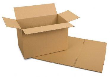 Karton flach und aufgebaut