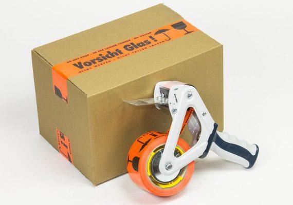Lohrmann Signalband Vorsicht Glas Karton mit Abroller