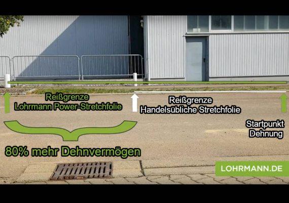Lohrmann Reißtest Vergleich Standard-Stretchfolie und Power-Stretchfolie