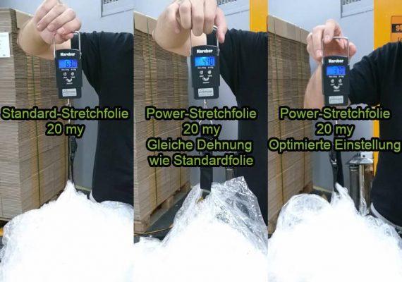 Stretchfolie Vergleich Standard vs. Lohrmann Power-Stretchfolie