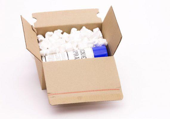 Verpackungschip S-Form im Karton schützen Dose
